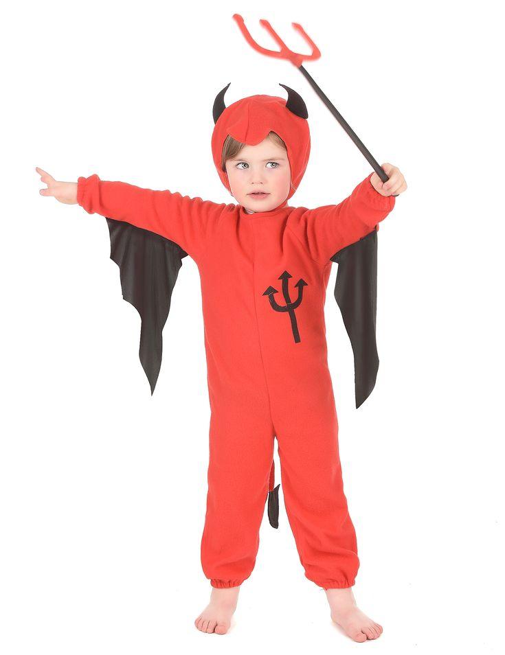 Déguisement diable enfant Halloween : Cet adorable déguisement de petit diable est pour enfant. Il comprend une combinaison et une cagoule (fourche non incluse).Pour la combinaison, le tissu est épais et évoque...