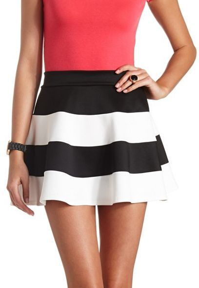 $18, White and Black Horizontal Striped Skater Skirt: Charlotte Russe Striped High Waisted Skater Skirt. Sold by Charlotte Russe. Click for more info: https://lookastic.com/women/shop_items/52223/redirect