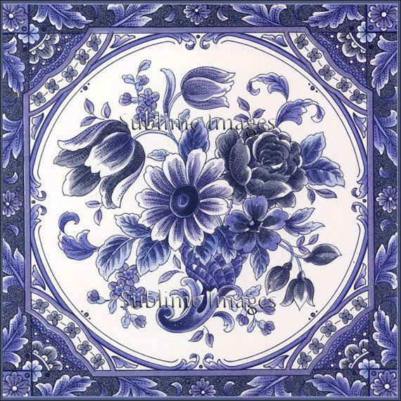 """Ceramic Tile 6 inch square - Blue Floral Delft Tile (Reproduction).This image is also available as a 4.25"""" square ceramic tile for $8.95 and 8"""" square for $19.95. Please contact this seller for a special listing. 6"""" $12.95"""