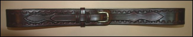 Handmade Leather Belt. A patterned brown ranger belt with brass buckle | Decuero Leather