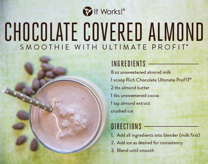 Chocolate Covered Almond Smoothie // Want to satisfy your chocolate craving without blowing your healthy diet? Try this smoothie on for size! #Nutrition http://www.myitworks.com/shop/product/316/