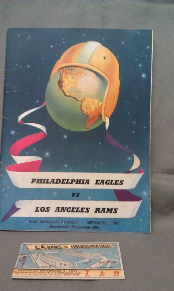 Philadelphia Eagles VS Los Angeles Rams September 1' 1951 Souvenir Program and Ticket