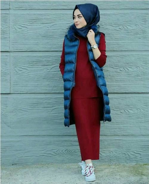 Long puffer vest hijab-How to wear chic hijab in cold winter days – Just Trendy Girls