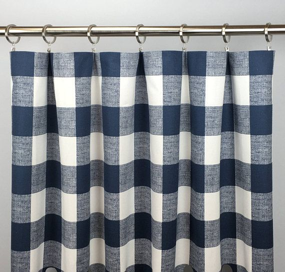 Navy Blue Buffalo Check Curtains Free Shipping Navy Blue Plaid