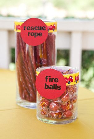 Firefighter party candy jars