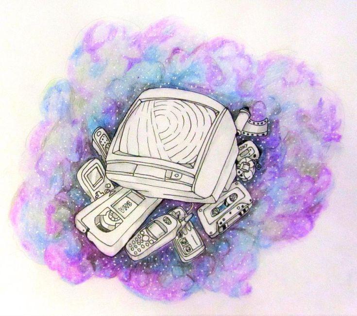 90's tv mobile phone technology tattoo art illustration –  – #technology