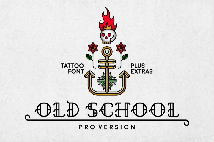 Introducing Old School  Old Schoolis a decorative, old school tattoo inspired typeface in modern performance. This font includes uppercase characters, punctuation and numerals. It is perfect for: - Logos - Posters - Labels - Headlines - Apparel - & more  Files included: - .ttf - four bonus logo templates (.ai CS+) Enjoy!