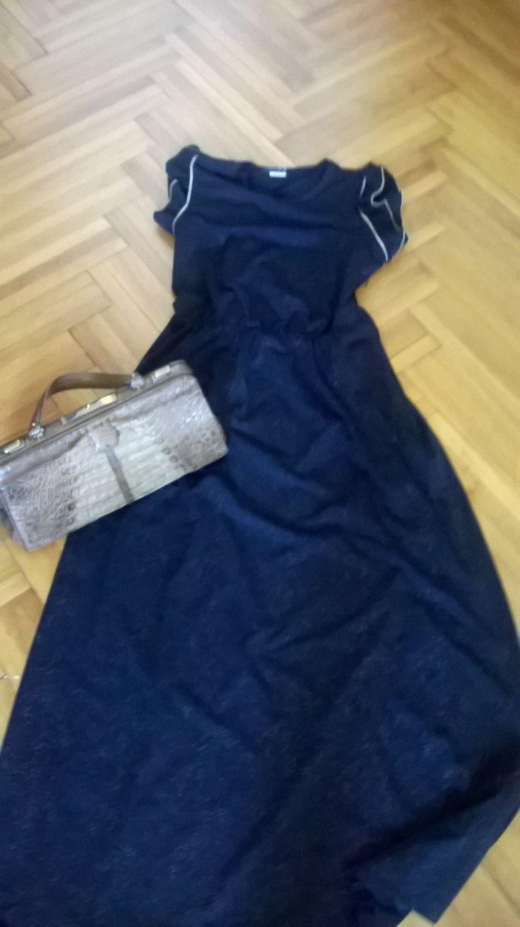 Vintage 70s maxi dress with gold accents, vintage beige croc purse