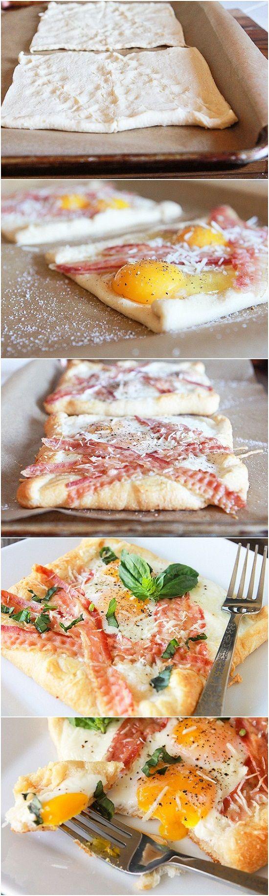 Bacon and Egg Crescent Squares [ MyGourmetCafe.com ] #breakfast #recipes #gourmet
