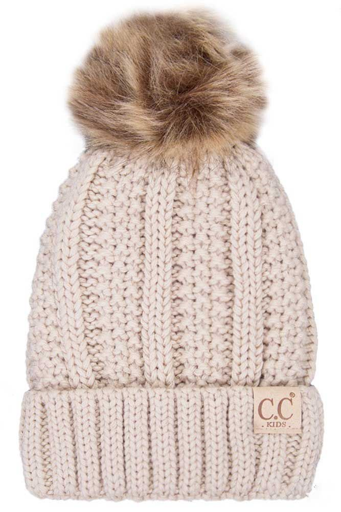 4f188b7f026 CC Beanie Fleece Lined Cable Knit Beanie with Pompom for Kids in Beige KIDS -820-BEIGE