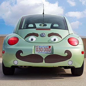 Wheel Appeal: Crafts to Customize Your Car ..Put On a Happy Face  .. downloadable template  Give your car's rear end a facelift with giant googly eyes, eyebrows, and a super-sized 'stache.