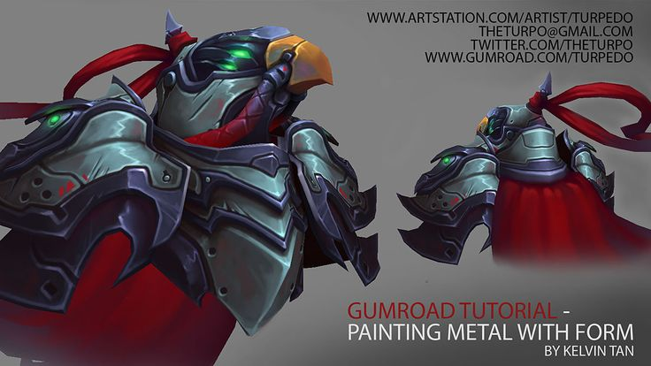 Texture Tutorial - Painting Metal with Form, Kelvin Tan on ArtStation at http://www.artstation.com/artwork/texture-tutorial-painting-metal-with-form