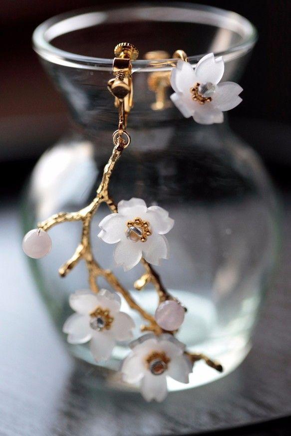 桜の枝ピアス&イヤリング
