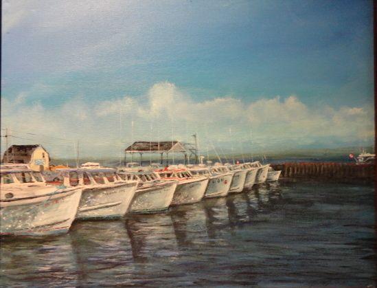 line of boats prince edward island marine art briankillinart