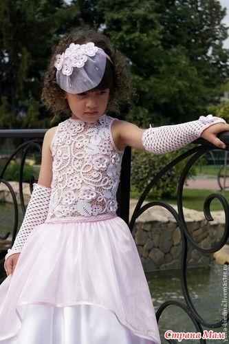 Поделитесь идеями... Детское платье - Ирландское, брюггское и ленточное кружева…