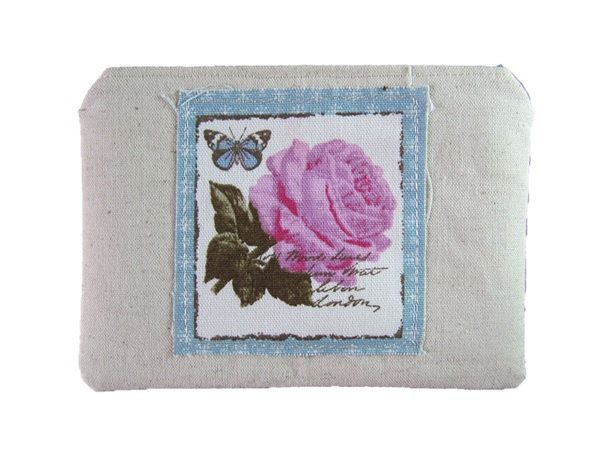 Rose Applique Coin Purse, Shabby Chic Zipped Bag, Coin or Makeup Bag, Small Lined Purse, Blue & Pink Linen by BobbyandMeSew on Etsy