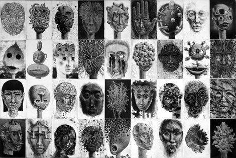 Pour cette exposition, Tomiyuki Sakuta présente une multitude de petits formats formant un monde fantasmagorique peuplé de plus d'une centaine de visages...