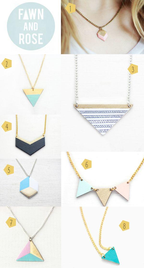 colliers, bijoux formes géométriques, fawn and rose