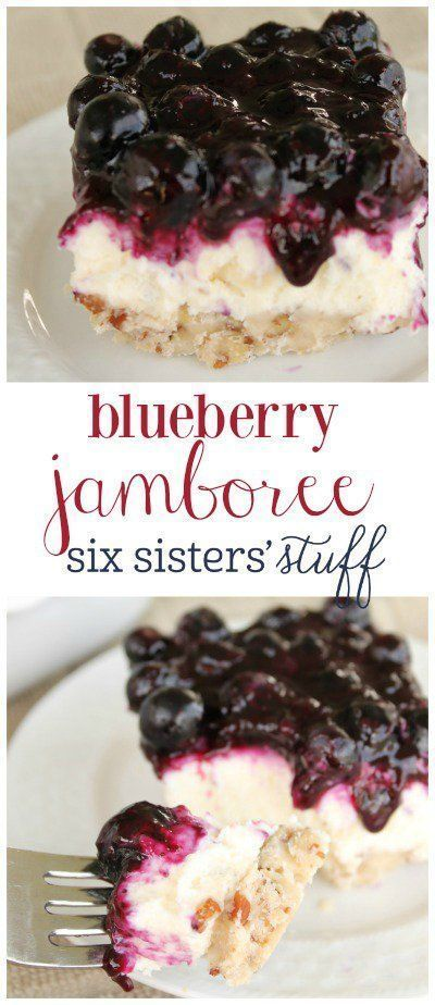 Blue Jamboree on http://SixSistersStuff.com   A delicious pecan shortbread crust layered with whipped cream and cream cheese filling, and topped off with a fresh blueberry topping.   Best Dessert Recipes