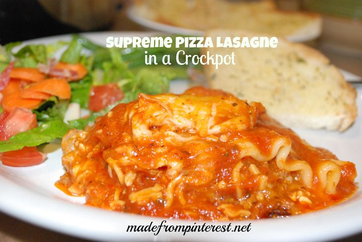 Do your kids like pizza? I know, silly question. But if they do, they will love this Supreme Pizza Lasagne in a Crockpot. With sausage and pepperoni  in a lasagne style dish, it will be a hit with your family!   madefrompinterest.net  #pizza #lasagne #crockpot