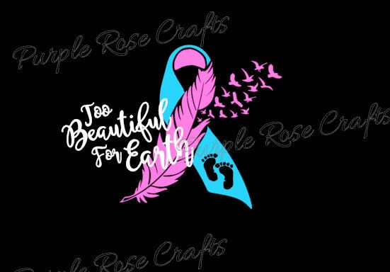 Too Beautiful For Earth Miscarriage Infant Baby Loss Awareness Ribbon Birds Feather Decal Sticker Cling for Window, Car, Cup, Laptop, Tablet by PRCdecals on Etsy