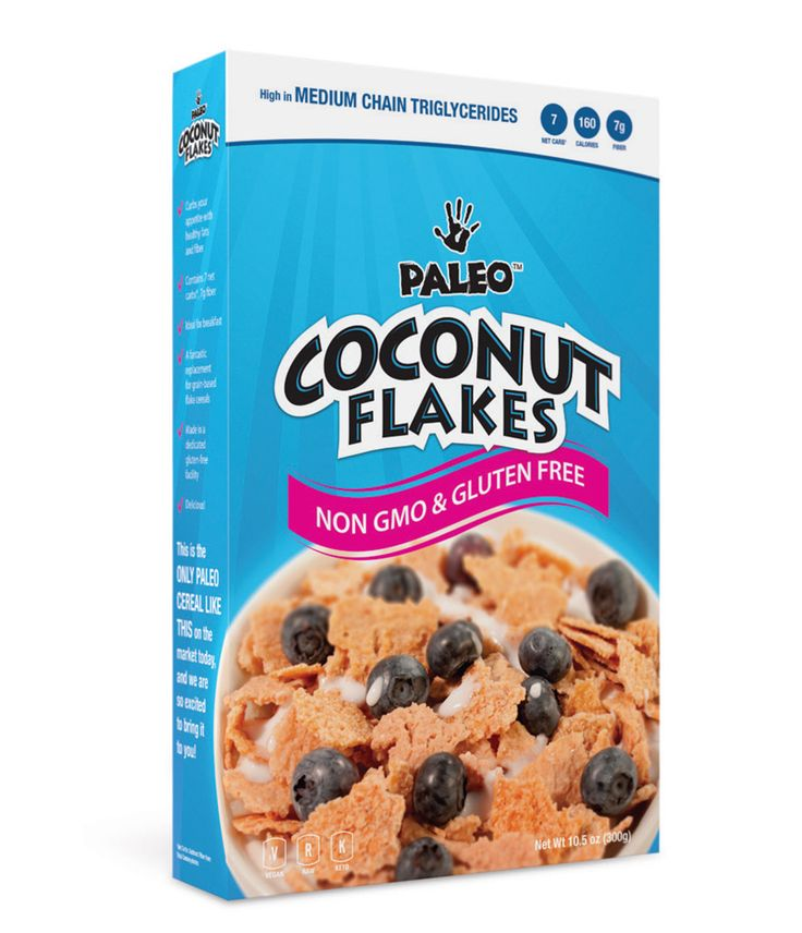 Paleo cereal brands  Paleo Coconut Flakes (Cereal) Low Carb & Gluten Free  1 Bowl (30g) = 7g Fiber & 7 Net Carbs! (Packed with MCT's – Healthy Fat) Coconut Flakes curb appetite through fiber, healthy coconut fat, and a small amount of protein!