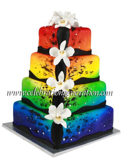 rainbow wedding cakes   ... amazing colorful pride wedding cake from celebration generation cakes