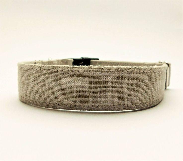 Linen pet dog cat collar Rustic puppies fabric dogcollar for wedding Natural #Handmade