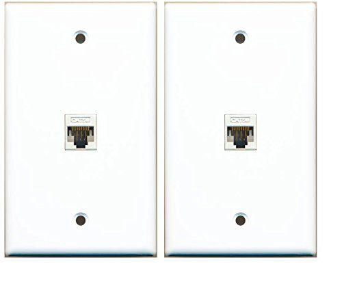 2 pack riteav 1 port cat5e rj45 ethernet wall plate white lot riteav http
