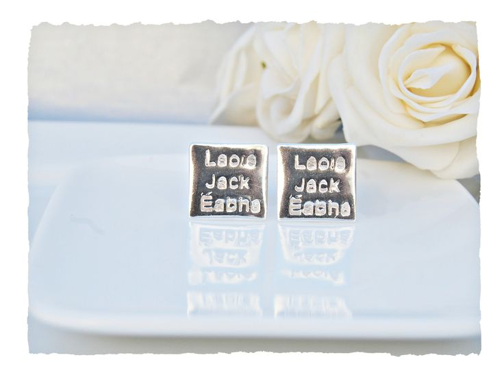 Have a set of elegant cufflinks with all the names of your loved one's that are extra special .   What about putting your business name or special wording.   These cufflinks will dress up any suit and make a stylish impression.  A great gift for the elegant man in your live - Birthday, Anniversary, Father's Day.