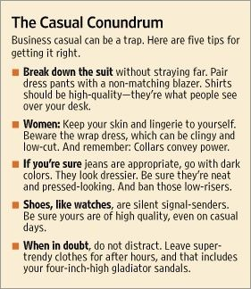 Confused by a business casual dress code? First, watch what your bosses are wearing. Then check out these tips for some extra help.