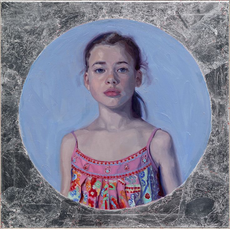 'Silver Lining',oil and imitation silverleaf on linen. 70x70 cm. Portrait painting by carolien van Olphen