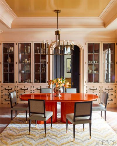 Dining Room Custom Orange Lacquered Table With BM Chocolate Mousse Paint On Cabinetry And Mystic