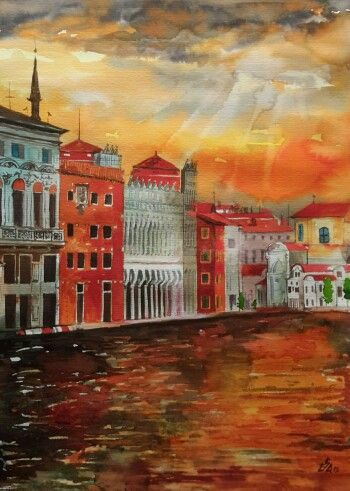 """Sunset in the City  2"".Watercolor  by Gabriela Calinoiu.  www.picturipeisaje.wordpress.com"