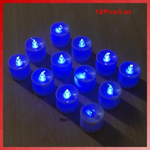 12 Stks/partij Blauw Licht LED Vlamloze Kaars Bruiloft Diner…