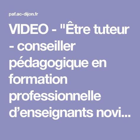 """VIDEO - """"Être tuteur - conseiller pédagogique en formation professionnelle d'enseignants novices"""" - Conférence de Sébastien CHALIES - Formation des personnels de l'académie de Dijon - DAFOP"""