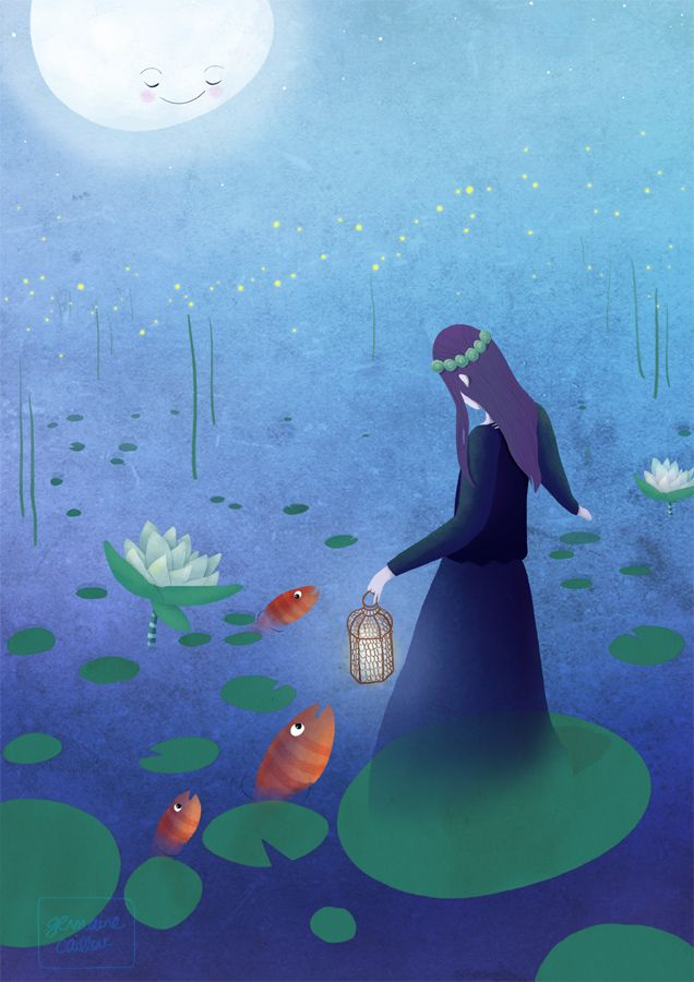 Fireflies & enchanted pond ♥ artwork by germaine caillou