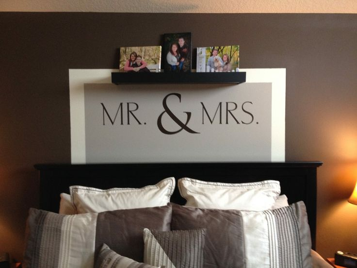 "Uppercase Living ~ <3 This idea for the #MasterBedroom  This is a custom design ~ MR./MRS. in Carlton font at size 6.5"" and the ""&"" symbol in Trajan font at size 12"" http://designsbydawn.uppercaseliving.net"