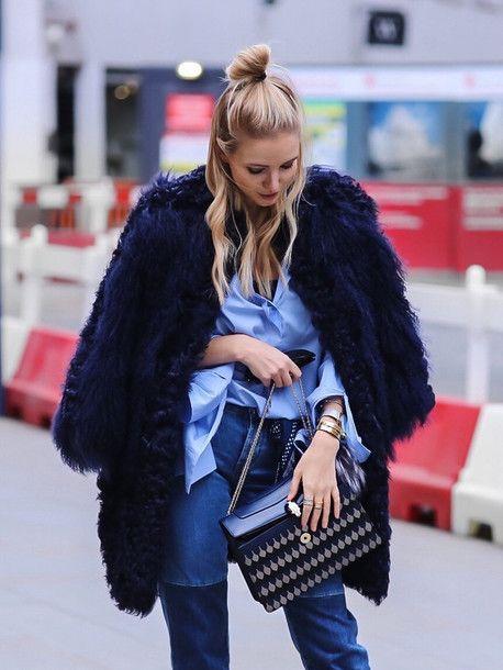 Coat: tumblr blue fur faux fur bag printed bag bulgari serpenti bag shirt blue shirt denim jeans