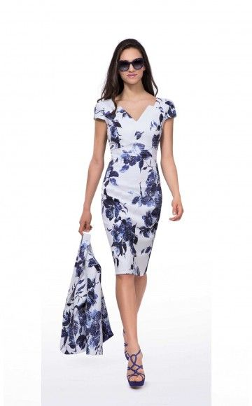 Michaela Louisa 8465, Blue & Ivory Floral Print Dress & Navy Jacket. Ladies occasion dress  & Jacket at Blessings Occasion Wear Boutique, Brighton, East Sussex. BN1 5GG. Telephone: 01273 505766