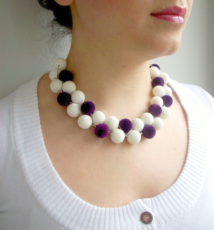 Necklace with white and purple fabric coated beads by defneodemis on Etsy