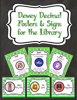 Dewey Decimal Posters and Signs to make your classroom library or media center pop! The set includes 11 general posters - 1 Dewey Decimal overview and 1 each for every section, 25 specific signs for the most popular Dewey numbers, and 10 shelf labels.