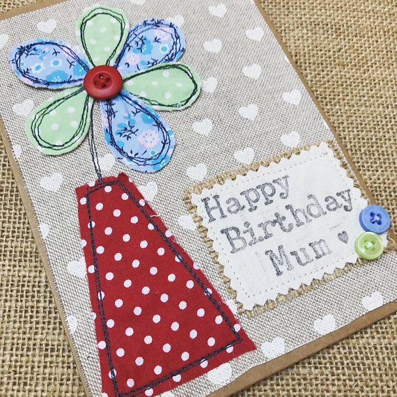 Flower Appliqué Card Mothers Day Birthday Card Decorative