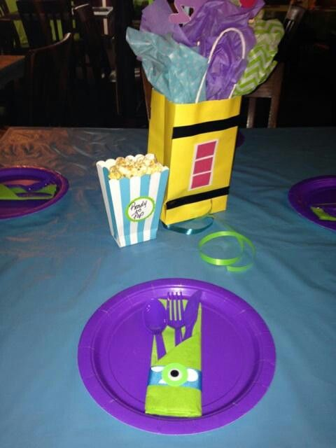 Place Setting Monsters Inc Theme Party Ideas Pinterest