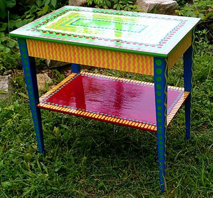 Hand Painted Furniture Chair Colorful Crazy Purple by LisaFrick