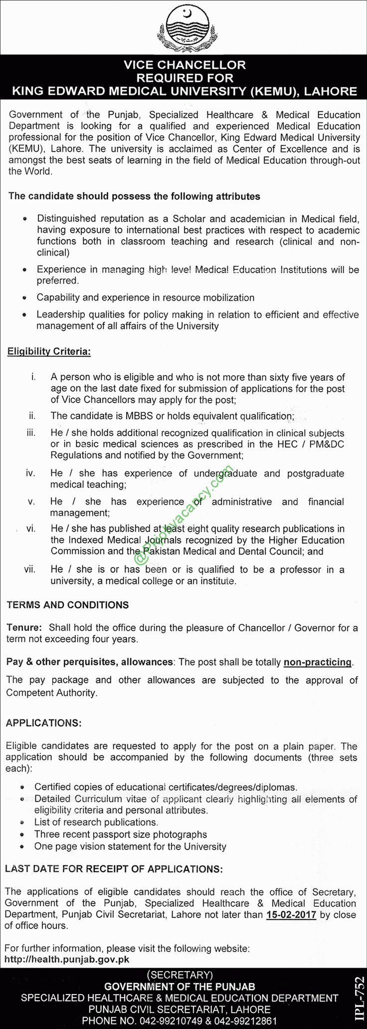 King Edward Medical University Lahore Vice Chancellor KEMU Jobs 24 January 2017