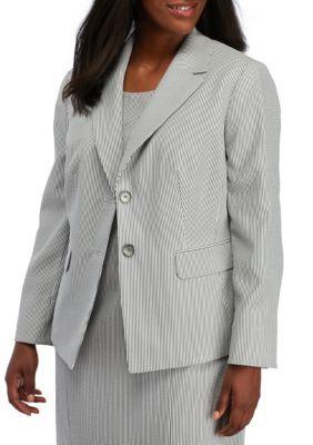 Kasper WhiteBlack Plus Size Notch Collar Seersucker Jacket