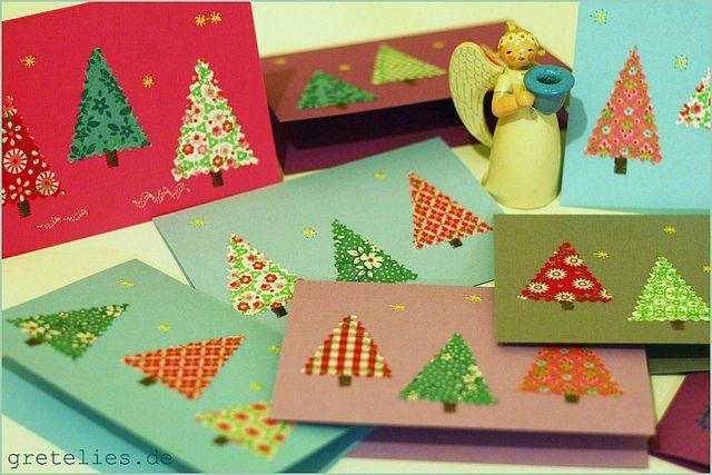sapin avec tissus ou papier décoré