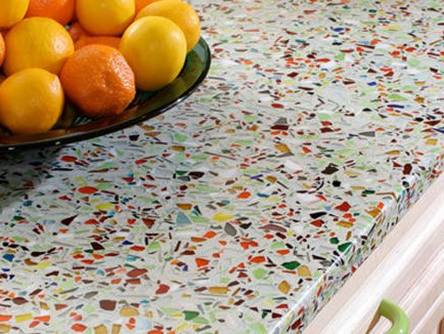 recycled glass countertop - beautiful!: Kids Bathroom, Recycled Glasses Countertops, Kitchens Ideas, Kitchens Countertops, Glass Countertops, Colors Kitchens, Vetrazzo Countertops, Counter Tops, White Kitchens