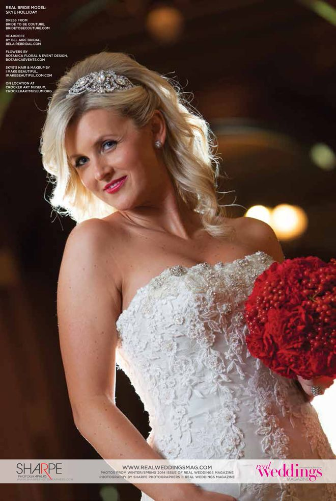 "From the ""Beautiful Works of Art"" Cover Model Contest feature in the Winter/Spring 2014 issue of Real Weddings Magazine, Photography by www.SharpePhotographers.com © Real Weddings Magazine, www.realweddingsmag.com. To see more, including a full list of all of the professionals on this shoot, visit: http://www.realweddingsmag.com/real-weddings-cover-model-finalist-skye-holliday-beautiful-works-of-art/: Www Realweddingsmag Com, Wedding Magazines"